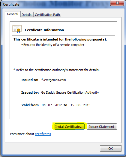 Photon Server: Install Certificate