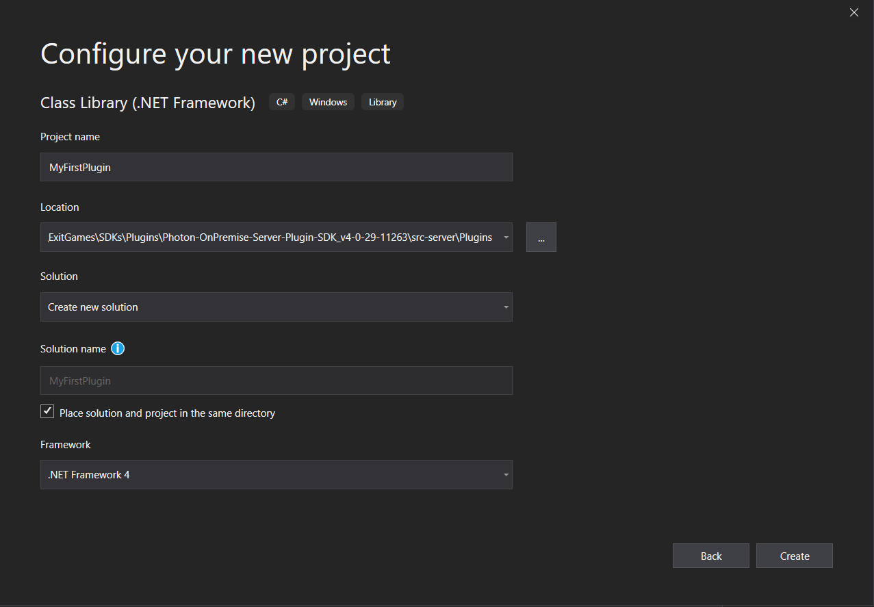 New Project Creation Window in Visual Studio 2019