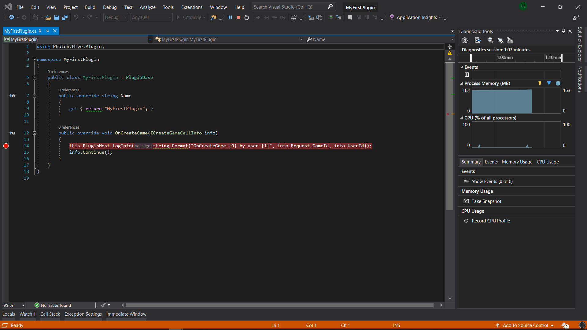 Photon Server debug started from Visual Studio