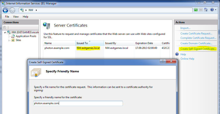Photon WebSocket Secure: Setup Certificate Screenshot 1