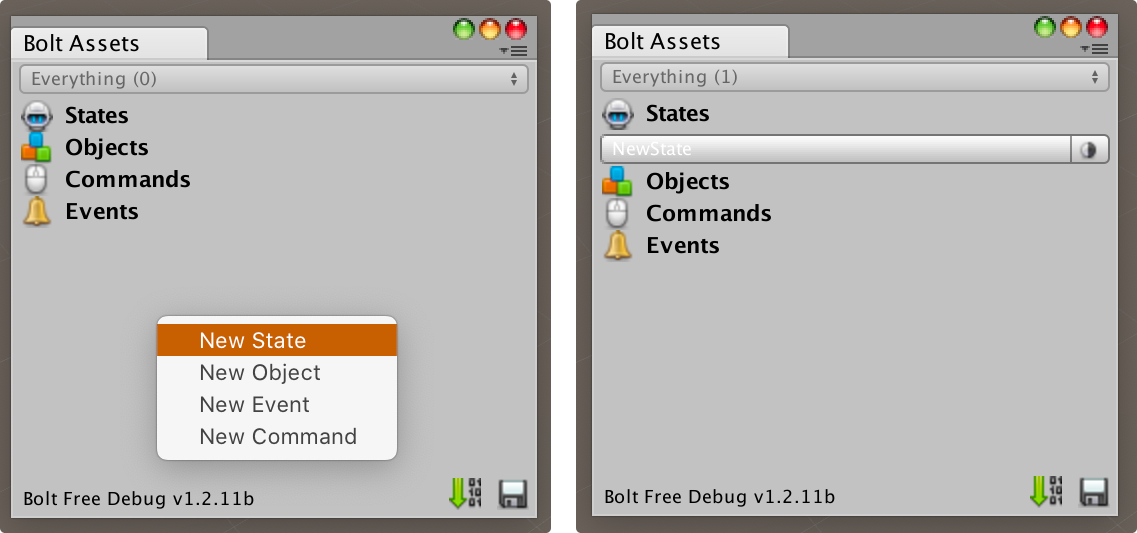 Bolt Assets Window - Create a new State