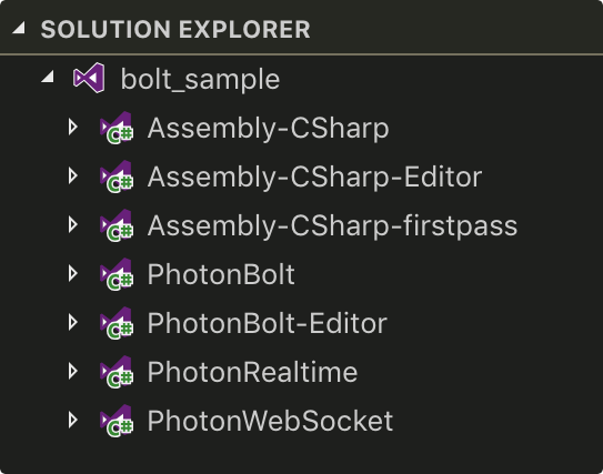 Photon Bolt Unity project using Assembly Definition to organize the code