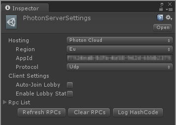 PhotonServerSettings in Inspector