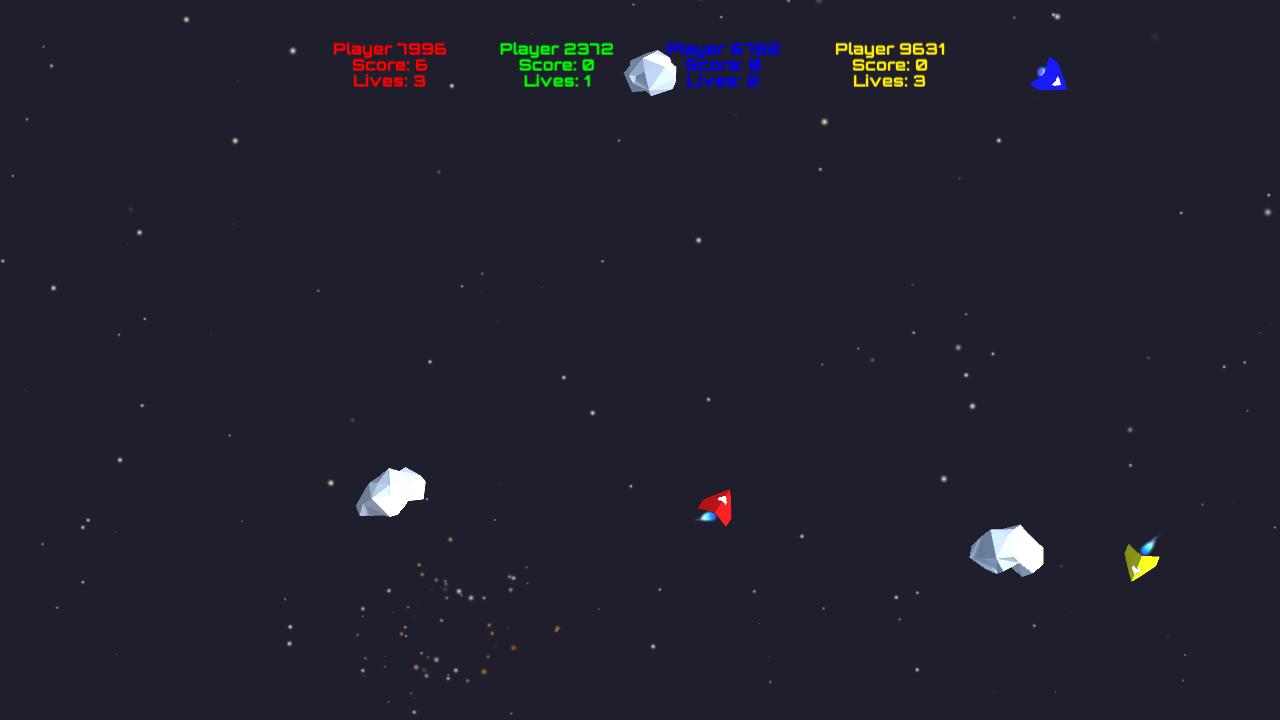Screenshot of the Asteroids demo