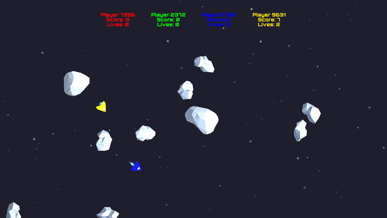 Screenshot of the ported Asteroids demo