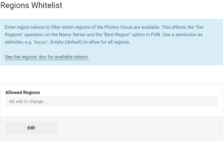 Photon Cloud: Regions Whitelist