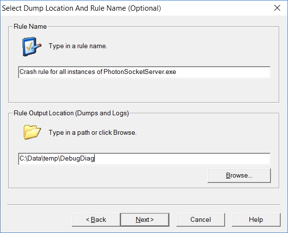 Select Dump Location And Rule Name
