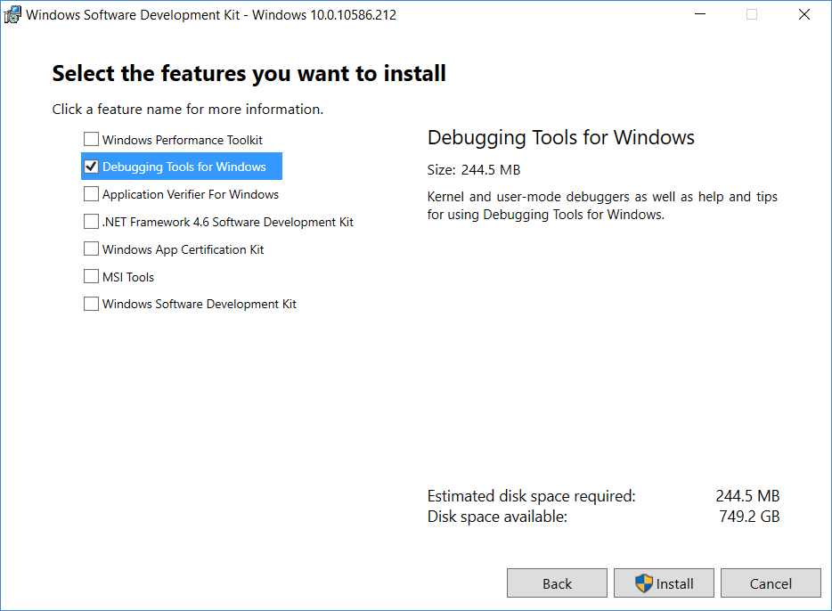 Installing WinDBG for Windows 10